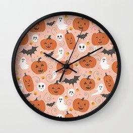 Pumpkin Party on Blush Pink Wall Clock