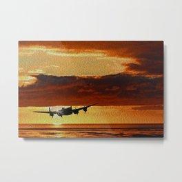 Lancaster Bomber at Sunset (Digital Painting) Metal Print