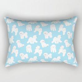 Bichon Frise Pattern (Blue Background) Rectangular Pillow