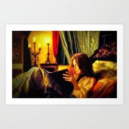 Candlelit Literature Art Print