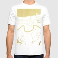 New Orleans White and Gold Map White MEDIUM Mens Fitted Tee