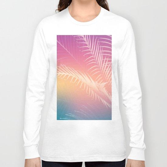 Gradient Tropical leaves Long Sleeve T-shirt