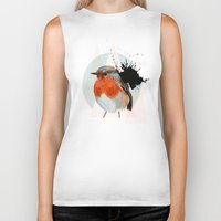 robin Biker Tanks featuring Robin by Stroke a Bird