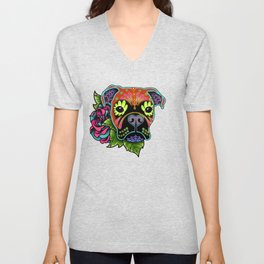 Boxer in Fawn - Day of the Dead Sugar Skull Dog Unisex V-Neck
