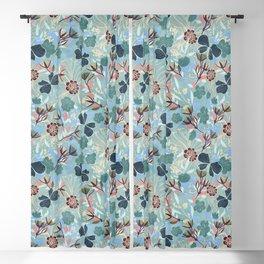 Australian Floral Summer/ teal background  Blackout Curtain