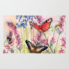 Wild meadow butterflies Rug