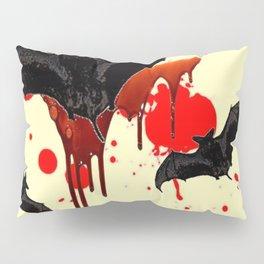 DECORATIVE FLYING BLACK BATS & HALLOWEEN BLOODY ART Pillow Sham