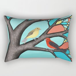 scarlet tanagers in the stained glass tree Rectangular Pillow