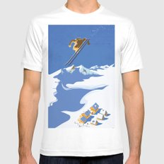 Retro Sky Skier MEDIUM White Mens Fitted Tee