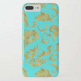 Queenlike on aqua - Gold glitter ornaments on aqua background- pattern iPhone Case