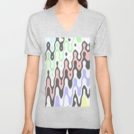 Asymmetry collection: pastel yellow green blue pink waves Unisex V-Neck