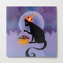 Black Cat Hoards Candy Metal Print