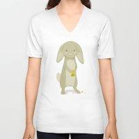 rabbit V-neck T-shirts featuring Rabbit by Jane Mathieu