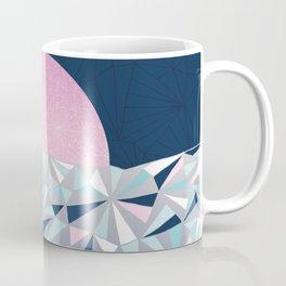 Geometric Sunset - Navy Blue and Pink Coffee Mug