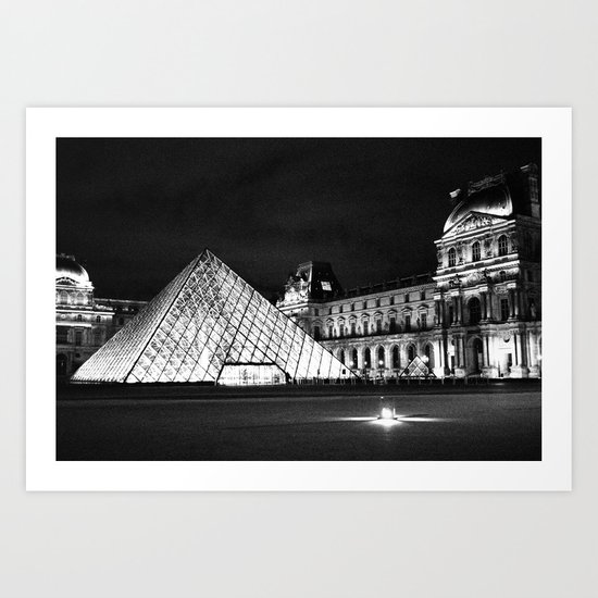 The Louvre Museum: Black and White Art Print