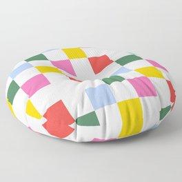 Retro Bauhaus Pattern | Abstract Shapes | Geometric Checks Floor Pillow