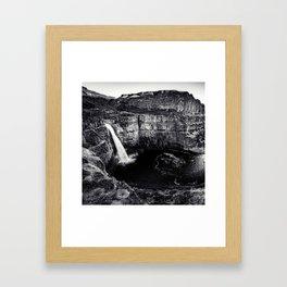 Hidden Waterfall Black and White Framed Art Print