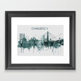 Blue Charleston South Carolina skyline Framed Art Print