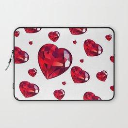 MODERN ART RAINING RUBY RED VALENTINES HEARTS Laptop Sleeve