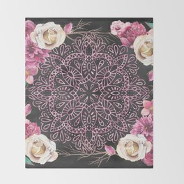 Mandala Night Rose Gold Garden Pink Black Yellow Throw Blanket