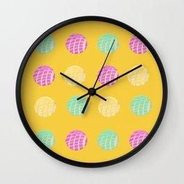 Mexican pan dulce conchas mustard background pattern Wall Clock