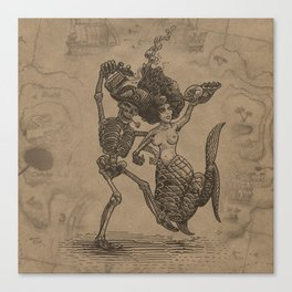 Dancing Mermaid and Skeleton Canvas Print