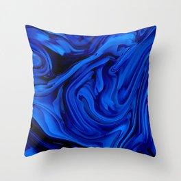 Blue Liquid Marbled texture Throw Pillow