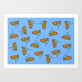 Pepperoni Pizza Dripping Cheese by the Slice Pattern (light blue) Art Print