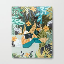 How To Live In The Jungle Illustration, Woman Travel Nature Painting Metal Print