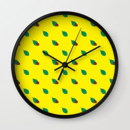 Neon yellow green red floral dots ladybug Wall Clock