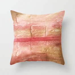 Red Pink stained watercolor texture Throw Pillow