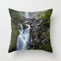 waterfall Throw Pillows featuring Waterfall. by Michelle McConnell