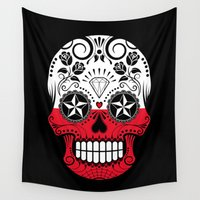 poland Wall Tapestries featuring Sugar Skull with Roses and Flag of Poland by Jeff Bartels