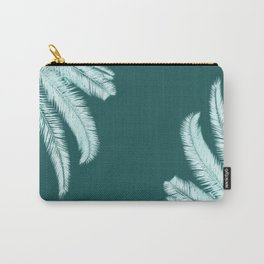 Palm leaves silhouettes on teal Carry-All Pouch