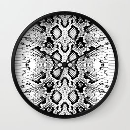Snake skin texture. black white. simple ornamen Wall Clock