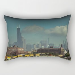 Scene from Afar Chicago Skyline from South of the Loop Rectangular Pillow