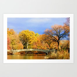 Bow Bridge in Autumn Art Print