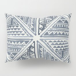 Simply Tribal Tile in Indigo Blue on Lunar Gray Pillow Sham