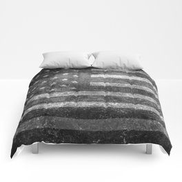 Black and White USA Flag in Grunge Comforters