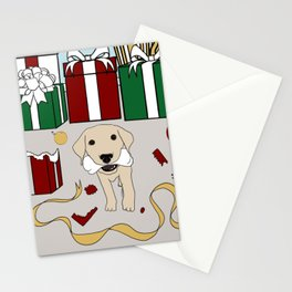 Yellow Lab Puppy At Christmas Stationery Cards
