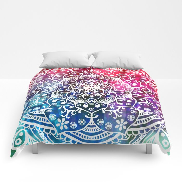 Namaste Red Purple Blue Mandala Comforters