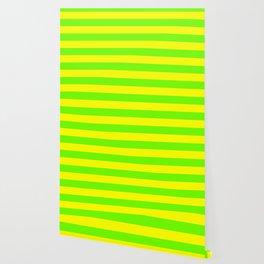Bright Neon Green and Yellow Horizontal Cabana Tent Stripes Wallpaper