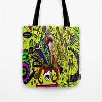 brain Tote Bags featuring Brain by Art Corner