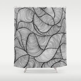 Black Swirl Lines Shower Curtain