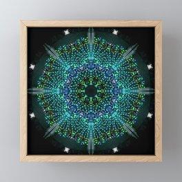 Kaleidoscope fantasy on lighted peacock shape Framed Mini Art Print