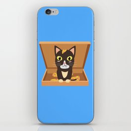 Cat in a pizza box   iPhone Skin