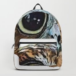 Owl Indented Face Lonely Subjugated Bird Looking Ahead Backpack