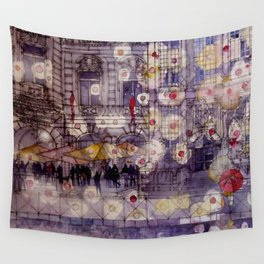 Girl with a red umbrella Wall Tapestry