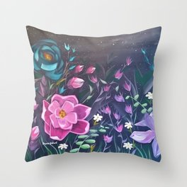 Moonlight Sonata, Bright flowers on Black, Night flowers, Bright floral on dark background Throw Pillow