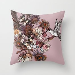 Tropical design with exotic flowers and hummingbird Throw Pillow